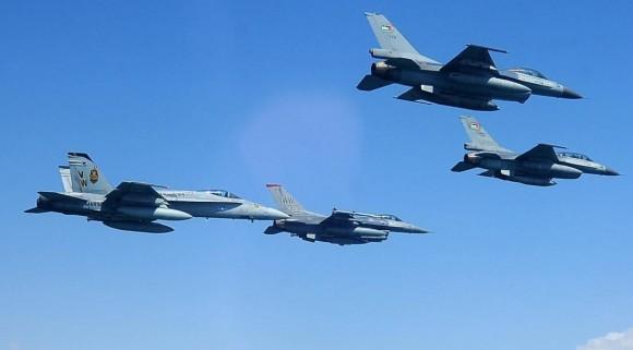 Exercício Eager Tiger 2014 - caças F-18 USMC e F-16 Jordânia e EUA - foto USAF