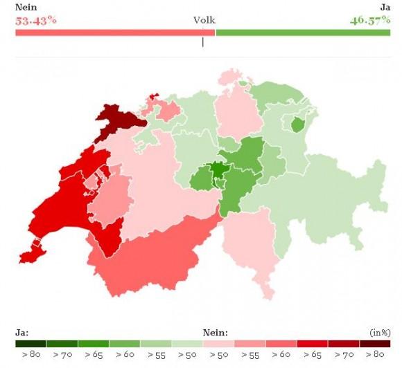 Mapa da votação suíça final