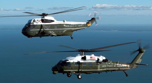VH-3D e VH-60N presidenciais dos EUA - foto via Navair