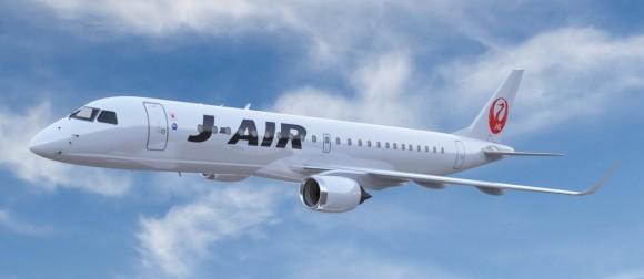 E-190 nas cores da J-AIR da JAL - recorte imagem Embraer