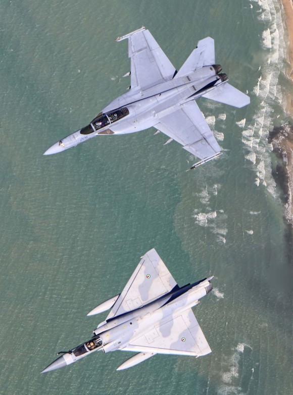 Pitch Black 2014 - Super Hornet - Mirage 2000-9 -  foto MD Australia