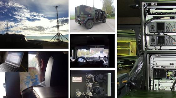 Fotomontagem Airbus Defence sistemas de rádios móveis