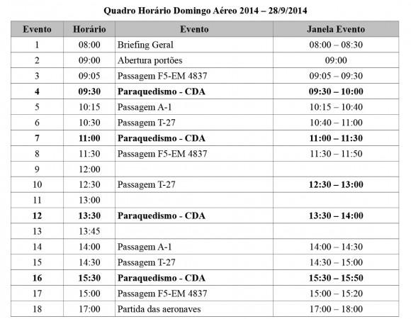Quadro Horário Domingo Aéreo PAMA-SP 2014 - 28-9 - fonte - FAB