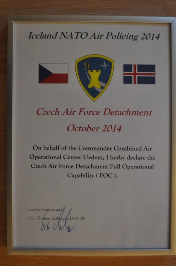 Caças Gripen tchecos operando na Islândia - declaração FOC - Min Def República Tcheca