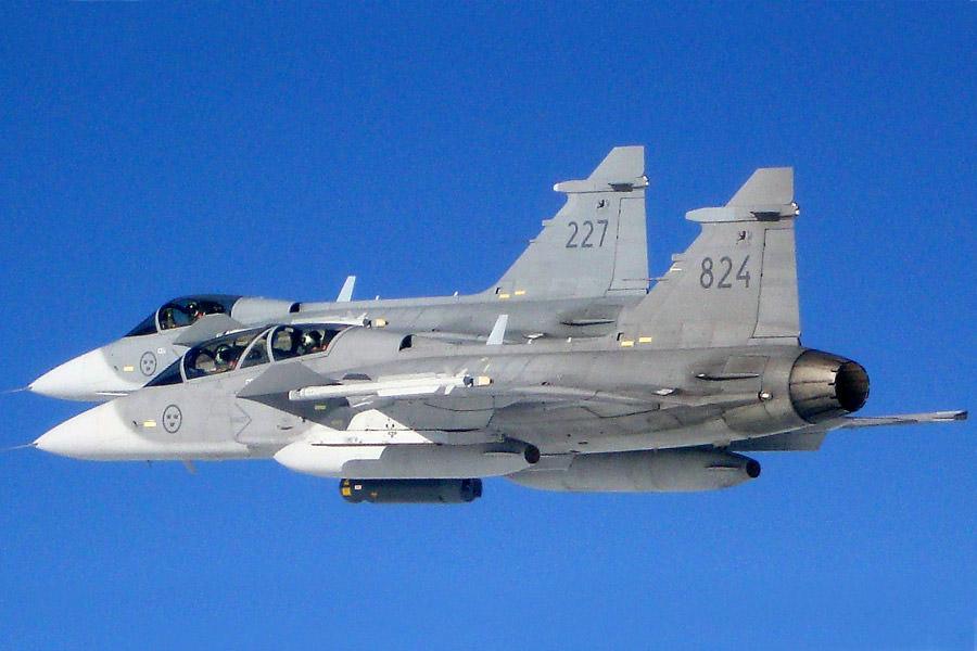 Caças Gripen - foto Forças Armadas da Suécia