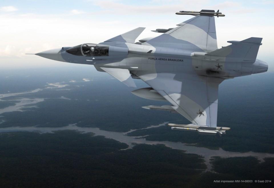 Gripen NG para o Brasil - concepção artística Saab