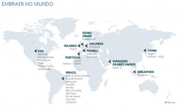 Mapa Embraer no Mundo - imagem Embraer