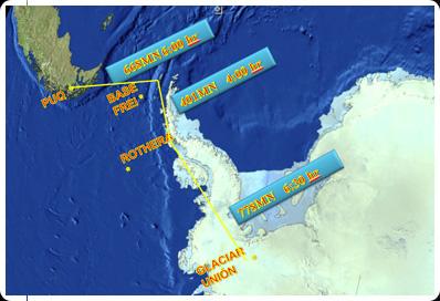 Mapa bases Antártida - imagem via FACh