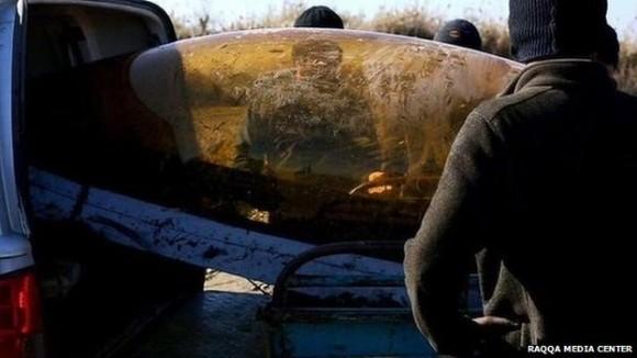 canopi de caça jordaniano derrubado - foto via BBC