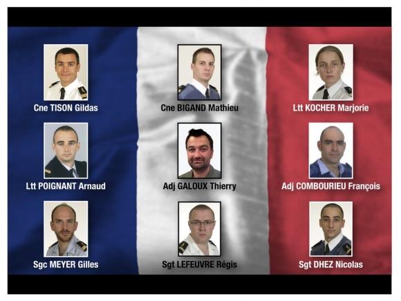 Quadro dos militares franceses mortos em Albacete em 26 de janeiro de 2015 - imagem Força Aérea Francesa