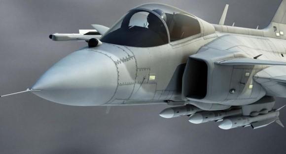 Gripen E com mísseis Meteor nos pilones da fuselagem - ilustração Saab