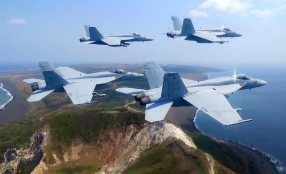 Super Hornet sobre o Japão - foto 2015 USN