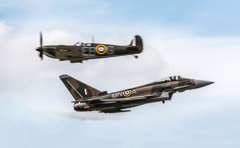 RAF Typhoon and Battle of Britain Memorial Flight Spitfire