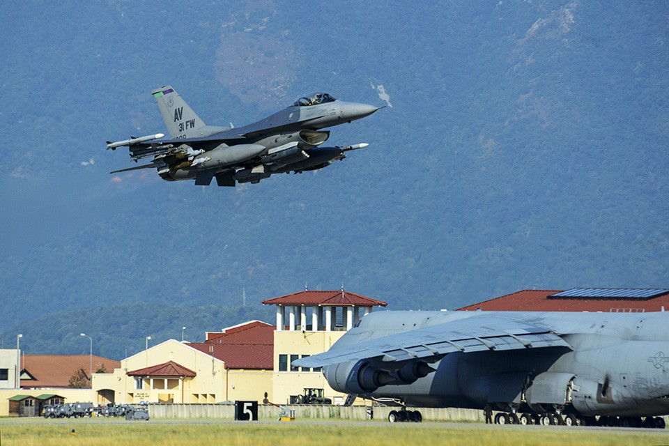 Six F-16 Fighting Falcons from the 31st Fighter Wing, accompanied by approximately 300 personnel and cargo deployed from Aviano Air Base, Italy, to Incirlik Air Base, Turkey, in support of Operation Inherent Resolve, Aug. 9, 2015. This deployment coincides with Turkey's decision to host U.S. aircraft to conduct counter-ISIL operations. (U.S. Air Force photo by Airman 1st Class Deana Heitzman/Released)