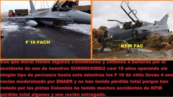 F-16 chilenos e Kfir colombiano acidentados