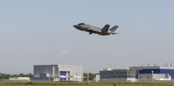 The first F-35A for the Italian Air Force, and the first F-35 built at the Cameri FACO, takes to the skies over Italy, Sept. 7, making the first F-35 Lightning II outside the United States. Lockheed Martin photo by: Todd McQueen (PRNewsFoto/Lockheed Martin Aeronautics)