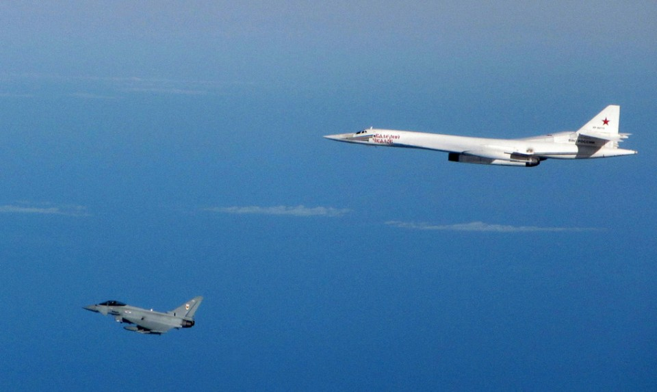 Typhoon fighter aircraft from RAF Lossiemouth intercept two Russian military Blackjack aircraft SEP10th-2015-1