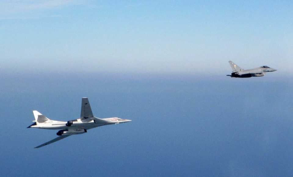 Typhoon fighter aircraft from RAF Lossiemouth intercept two Russian military Blackjack aircraft SEP10th-2015-3