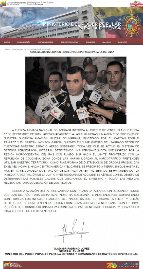 queda do Su-30 venezuelano comunicado oficial