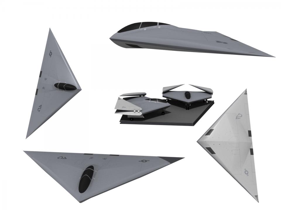 Concepção artística em 3D do A-12 Avenger