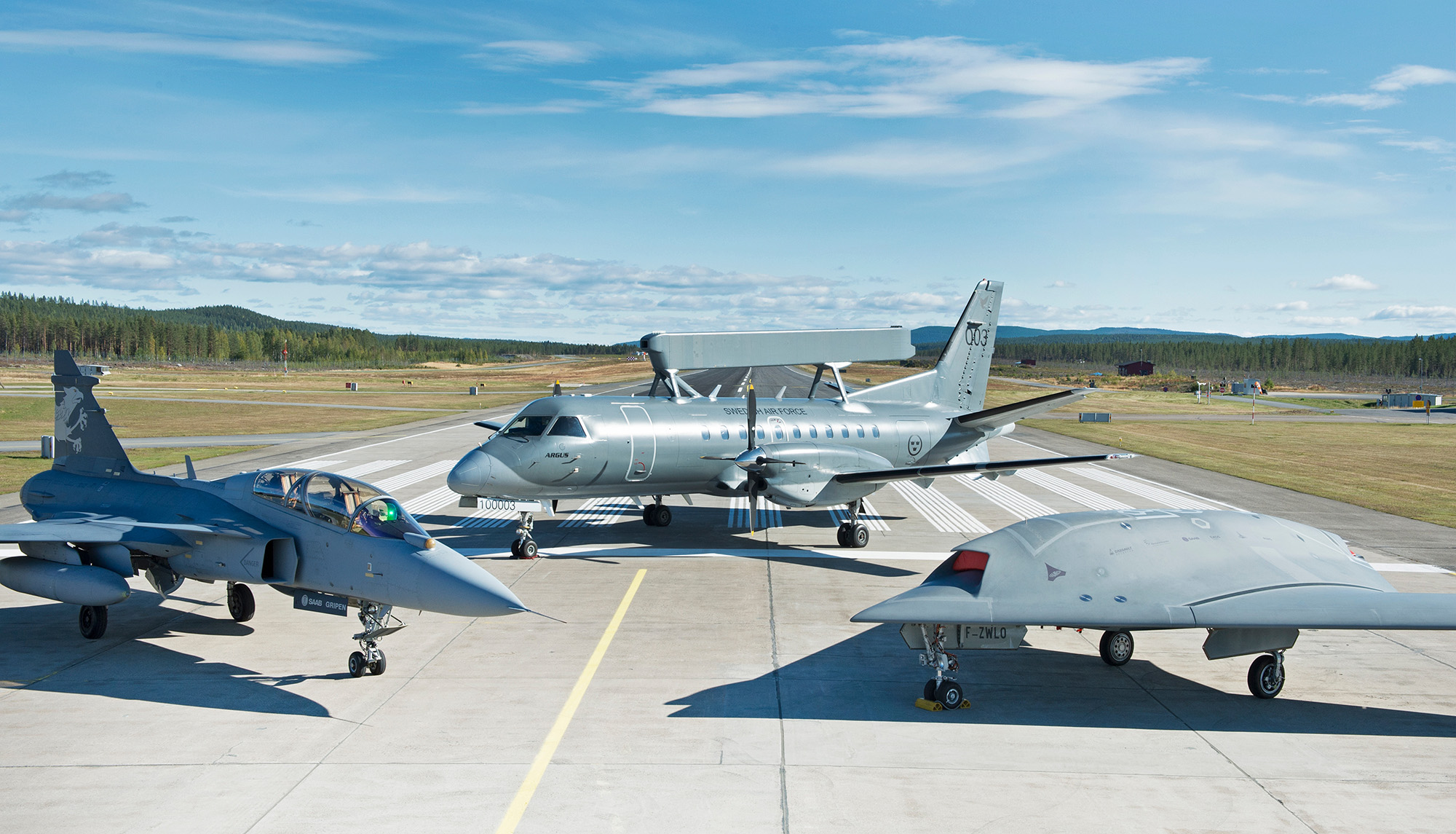 Gripen 39-7 with Saab 340 AEW and Neuron Unmanned