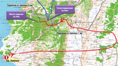 Mapa russo mostrando a rota do Su-24 abatido