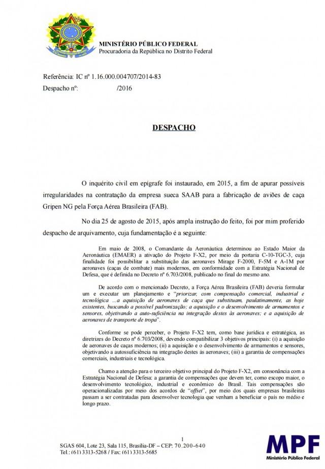 Reabertura inquerito compra Gripen - MPF 1fev2016 - p1