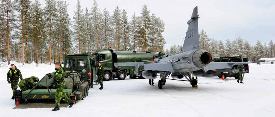 Novo conceito apoio Gripen desdobrado - foto Forças Armadas Suecas