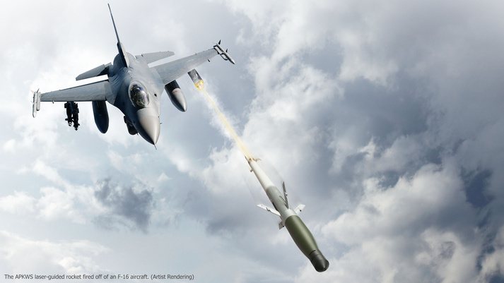APKWS - foguete guiado a laser - lancamento de F-16 - ilustracao BAE Systems