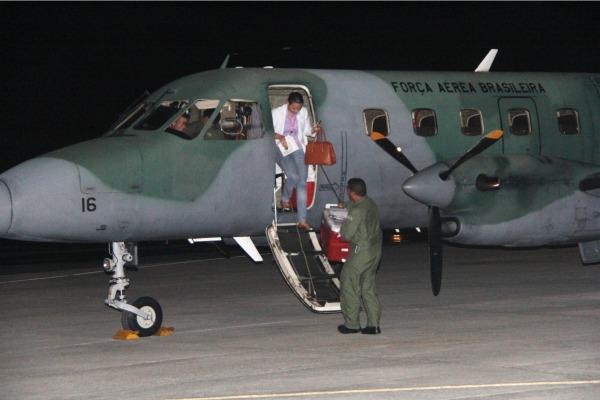 Aeronave Bandeirante em missao de transporte de orgao - foto FAB