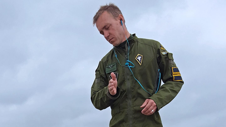 Gripen no RIAT 2016 - piloto Peter Fallen - foto Forcas Armadas da Suecia
