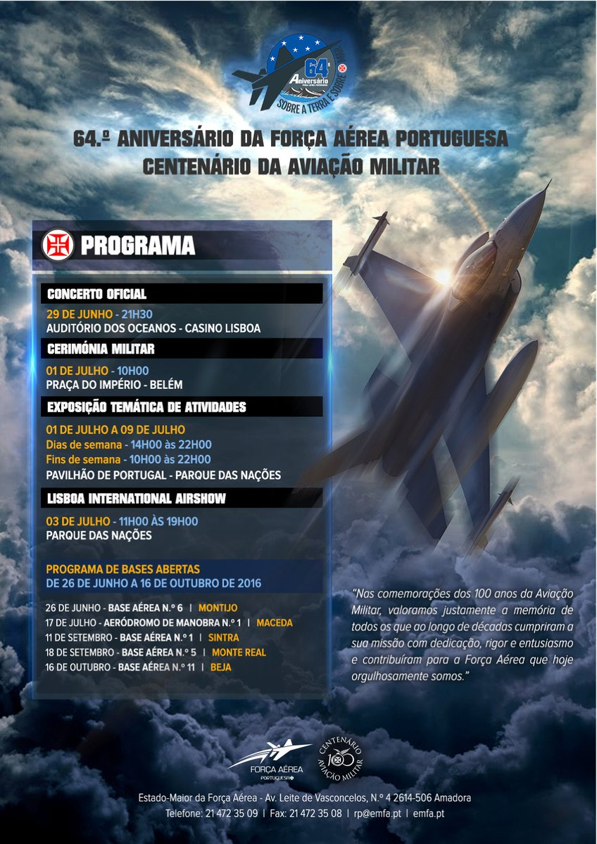Programacao 64 anos Forca Aerea Portuguesa