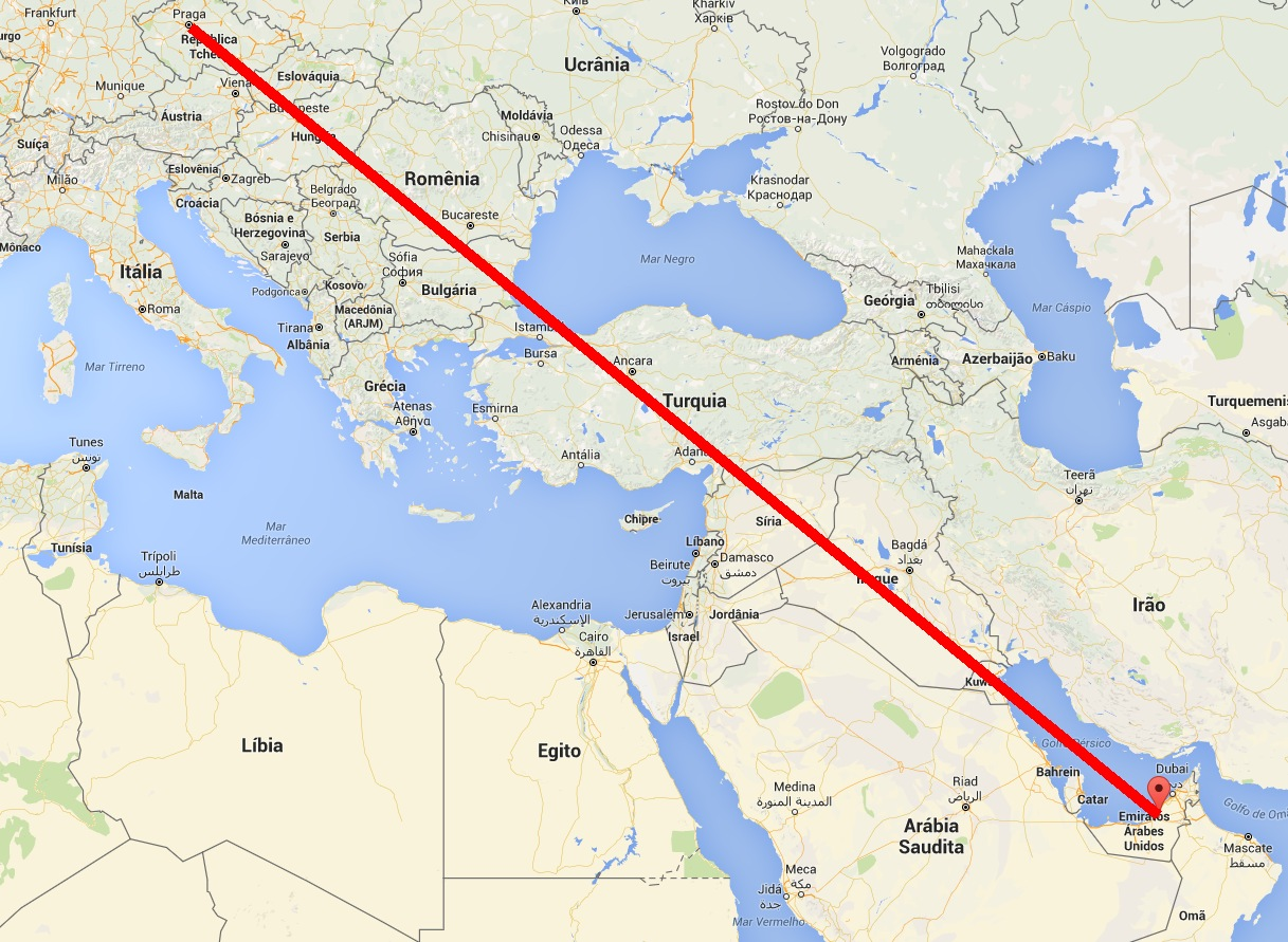 trajeto KC-390 Rep Tch - Abu Dhabi