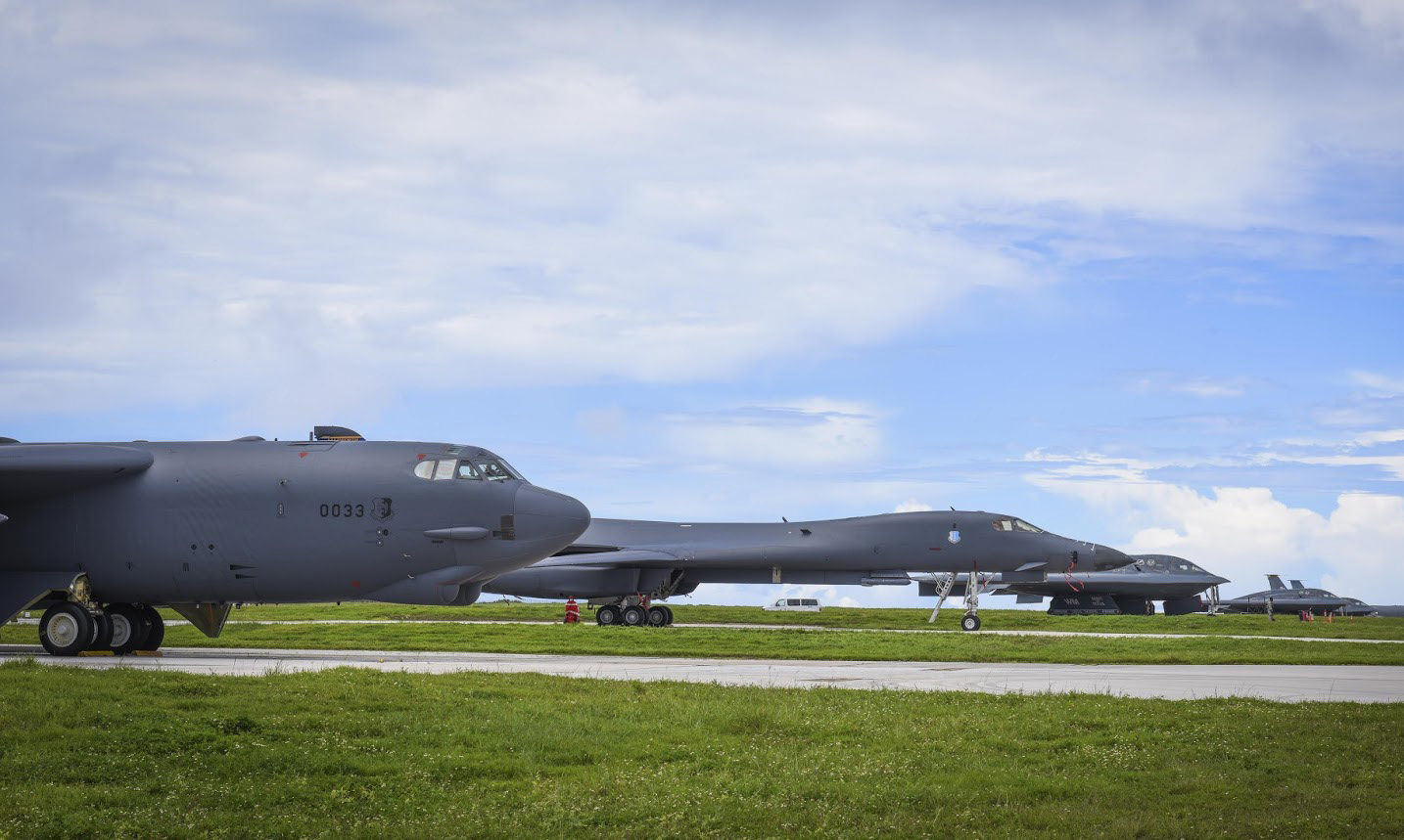 A B-52 Stratofortress, B-1 Lancer and B-2 Spirit are shown on the flight line at Andersen Air Force Base, Guam, Aug. 10, 2016. 2