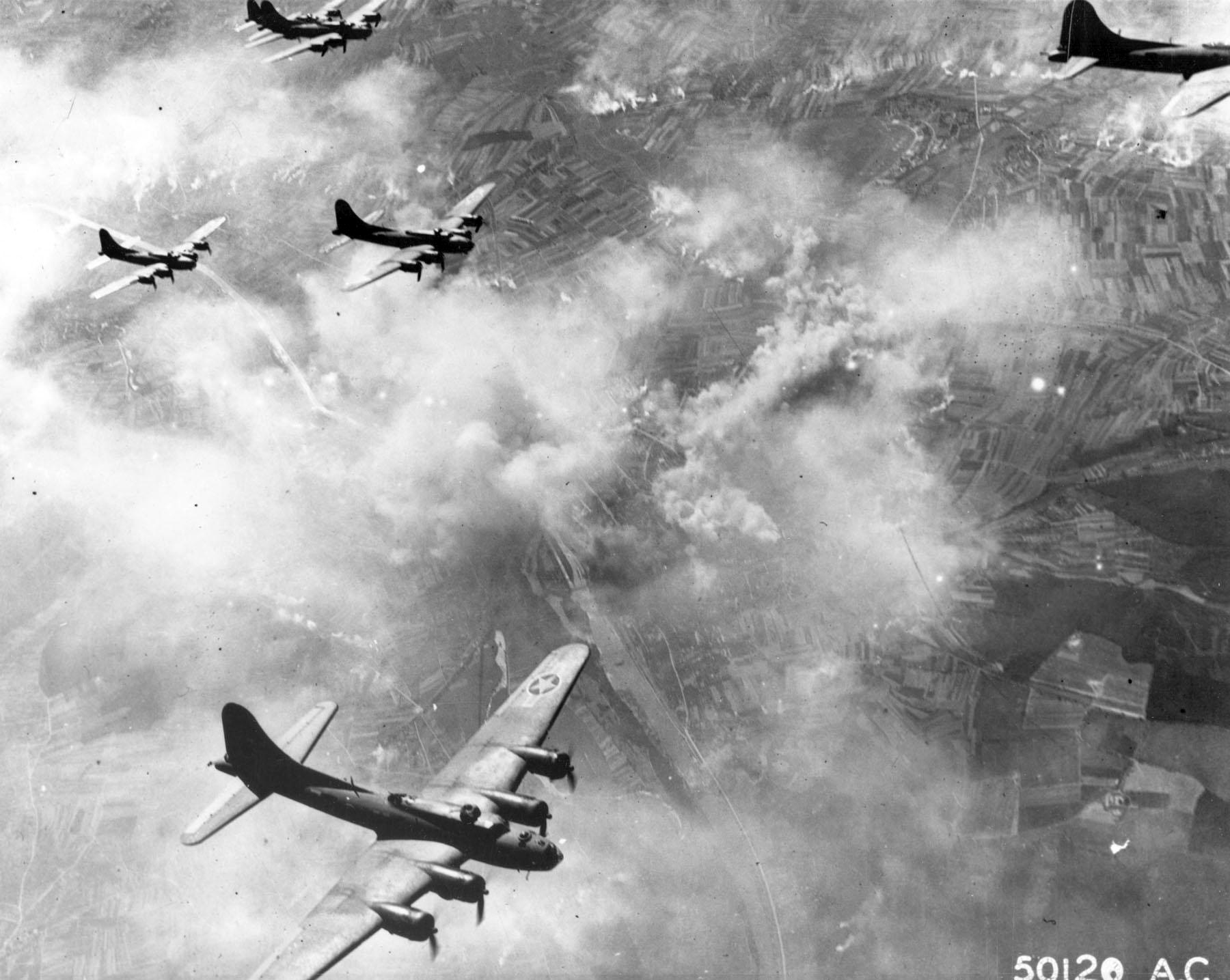 Boeing-B-17F-Flying-Fortresses-over-Schweinfurt-Germany-17-August-1943