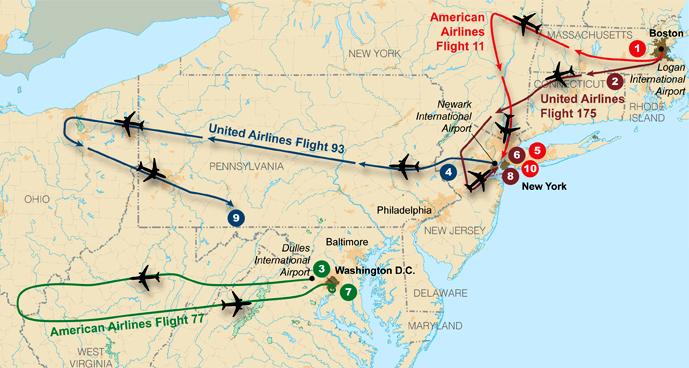 As trajetórias de voo dos quatro aviões sequestrados usados nos ataques terroristas de 11 de setembro de 2001