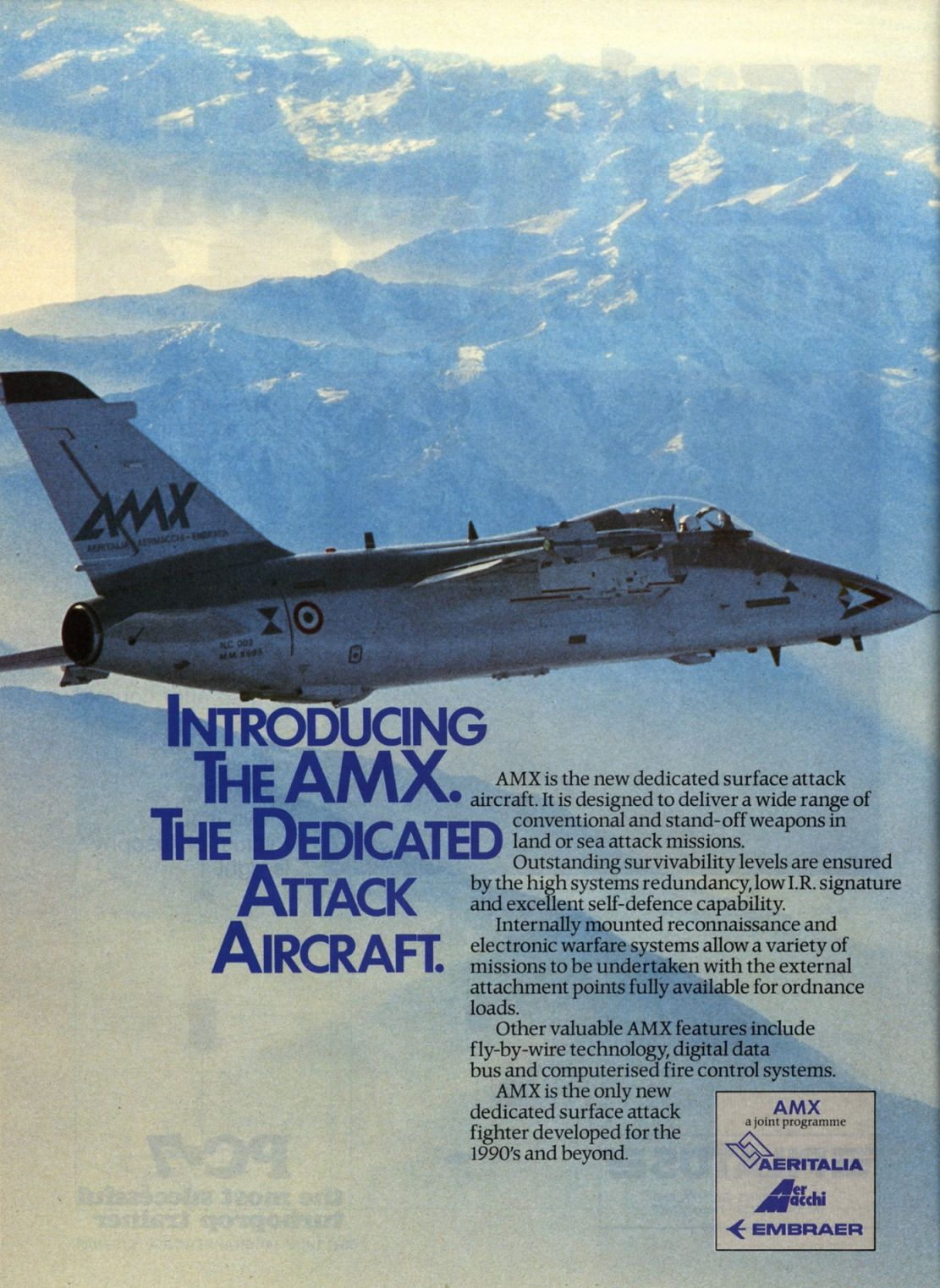 Publicidade do AMX na Air International 1985-06