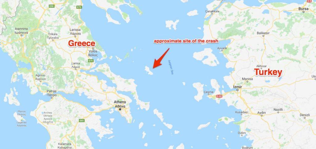 Dogfight: F-16 Block 52 turco e Mirage 2000-5 grego. Local da queda do caça grego