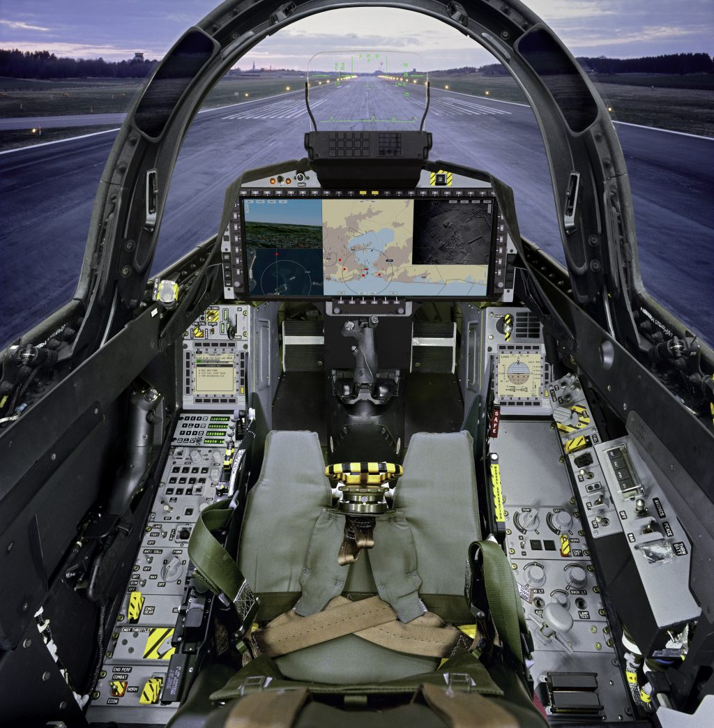 Cockpit do Saab Gripen com WAD