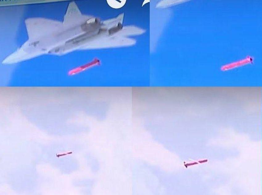 Su-57 lançando míssil de cruzeiro contra alvo na Síria