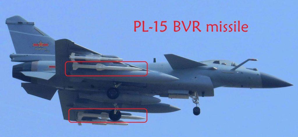 Mísseis BVR PL-15 no caça J-10C