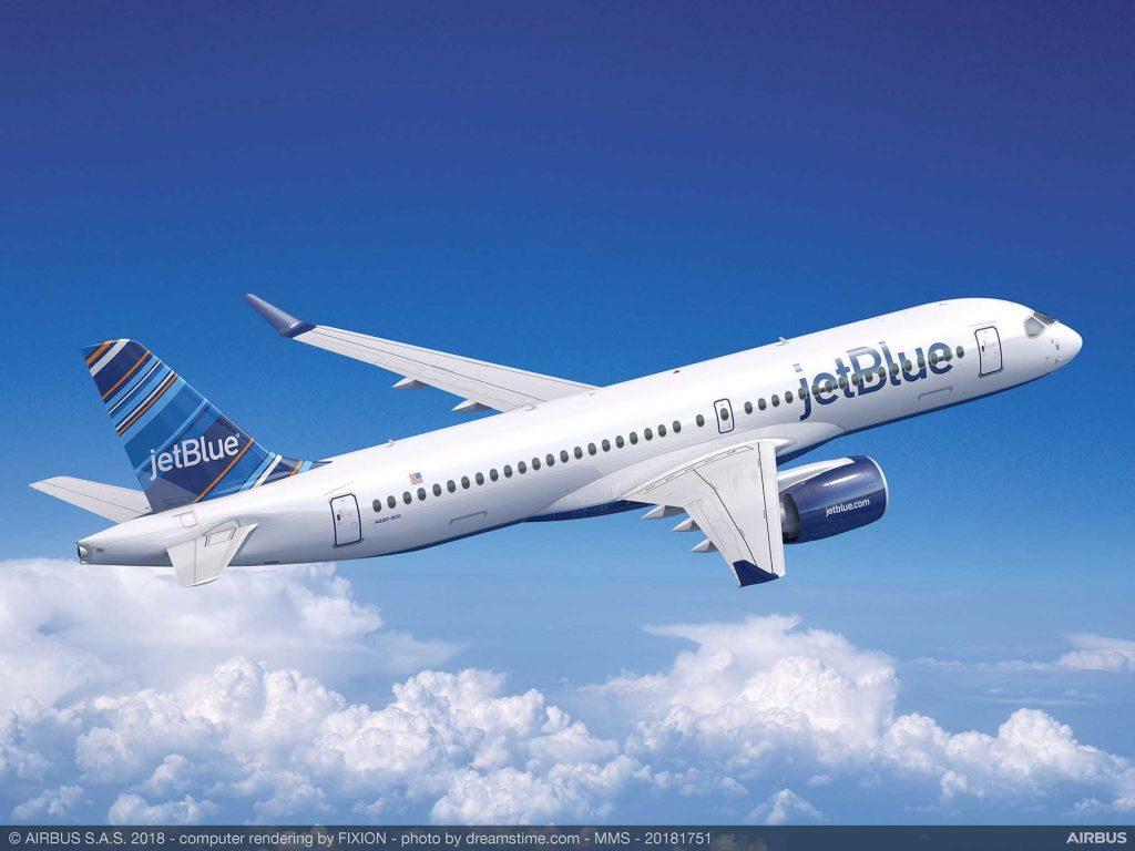 Concepção do Airbus A220-300 da JetBlue