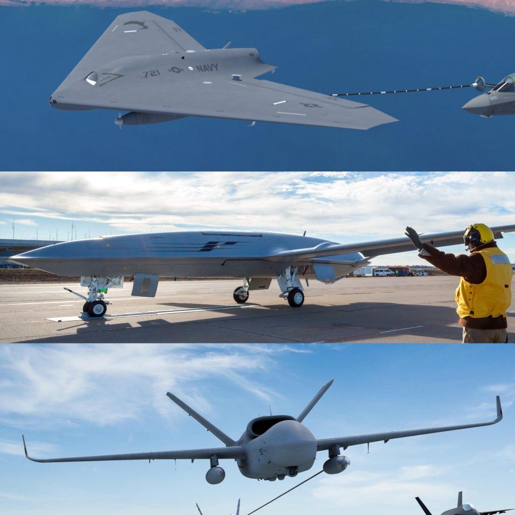 Conceitos do MQ-25A Stingray. De cima para baixo: Lockheed Martin, Boeing, General Atomics