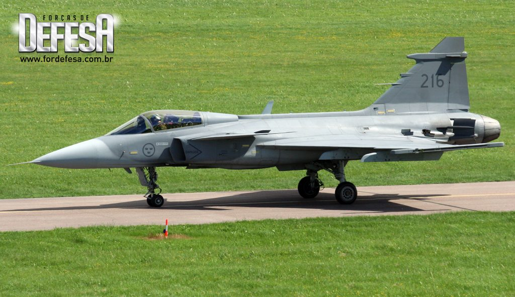 Caça Saab JAS 39C Gripen da Força Aérea Sueca, em 2010