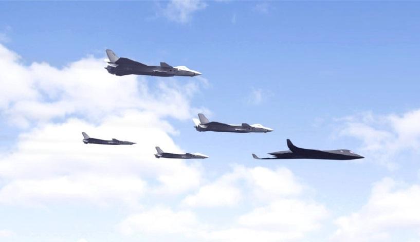 Imagem divulgada mostra caças J-20 liderados por uma aeronave que poderia ser o bombardeiro stealth H-20