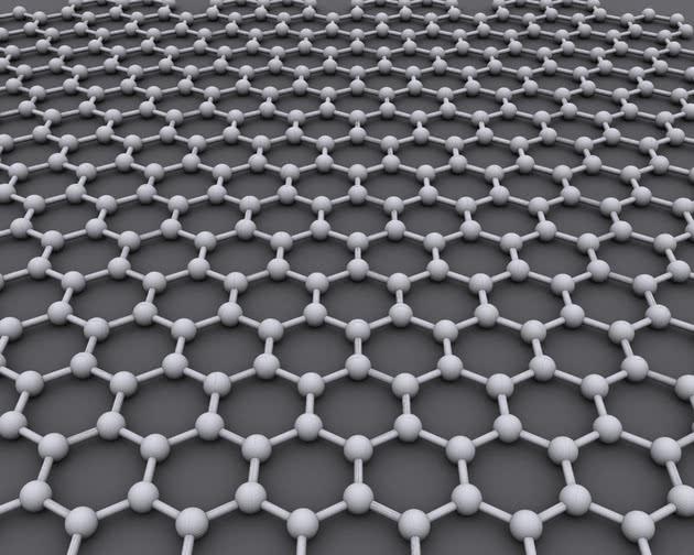 O grafeno é formado por uma estrutura hexagonal de átomos de carbono, que visualmente se parece com um favo de mel.