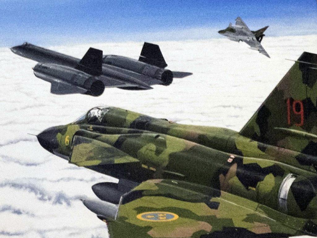 Pintura retrata SR-71 escoltado por dois Saab Viggen