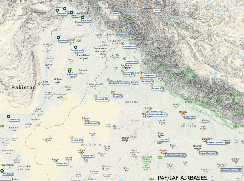 Bases aéreas da Índia e do Paquistão
