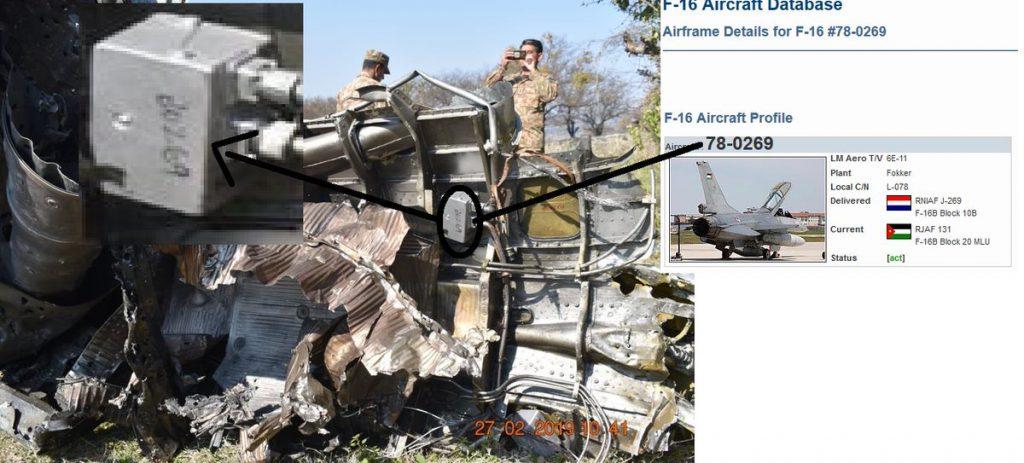 Informações cruzadas com matrícula que aparece em foto de destroços do suposto F-16D paquistanês provariam que era um avião ex-Jordânia
