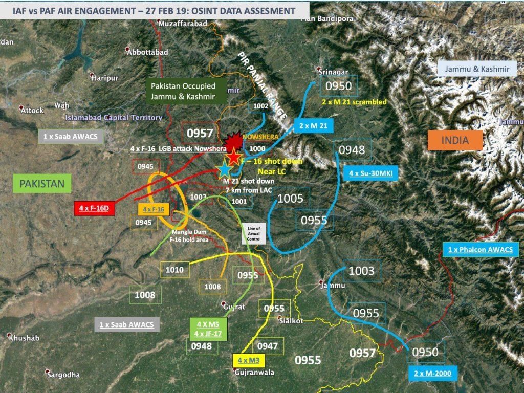 Avaliação de dados obtidos por OSINT (Open Source Intelligence) das aeronaves da IAF e da PAF em 27 de fevereiro de 2019. Clique na imagem para ampliar